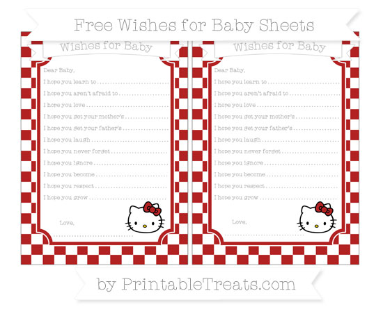Free Fire Brick Red Checker Pattern Hello Kitty Wishes for Baby Sheets