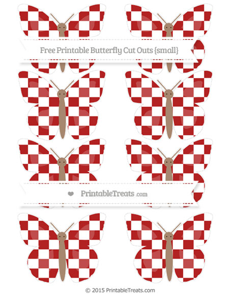 Free Fire Brick Red Checker Pattern Small Butterfly Cut Outs