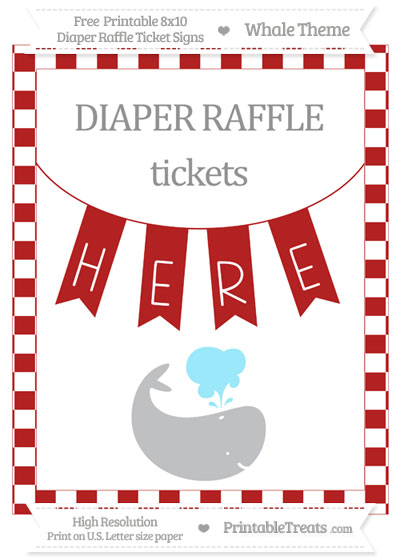Free Fire Brick Red Checker Pattern Whale 8x10 Diaper Raffle Ticket Sign