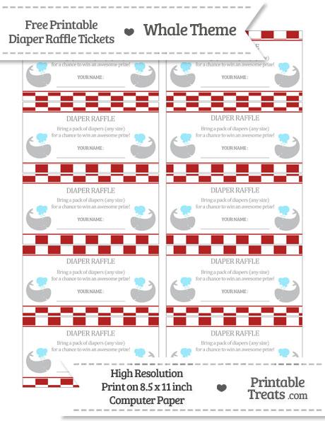 Free Fire Brick Red Checker Pattern Whale Diaper Raffle Tickets