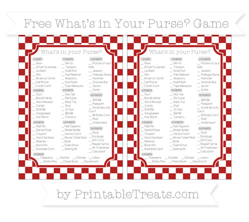 Free Fire Brick Red Checker Pattern What's in Your Purse Baby Shower Game