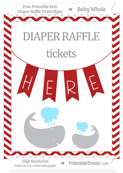 Free Fire Brick Red Chevron Baby Whale 8x10 Diaper Raffle Ticket Sign