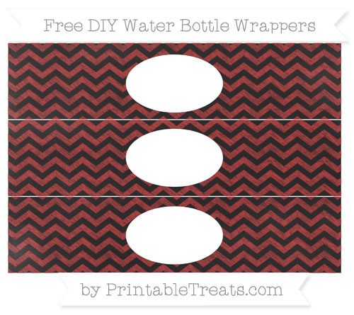 Free Fire Brick Red Chevron Chalk Style DIY Water Bottle Wrappers