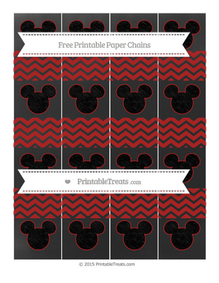 Free Fire Brick Red Chevron Chalk Style Mickey Mouse Paper Chains
