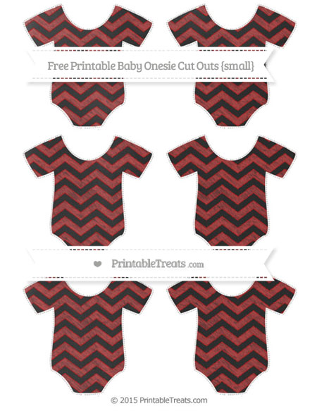 Free Fire Brick Red Chevron Chalk Style Small Baby Onesie Cut Outs