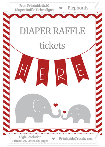 Free Fire Brick Red Chevron Elephant 8x10 Diaper Raffle Ticket Sign