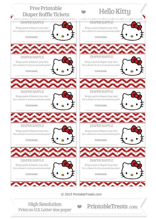 Free Fire Brick Red Chevron Hello Kitty Diaper Raffle Tickets