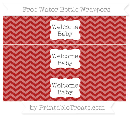 Free Fire Brick Red Chevron Welcome Baby Water Bottle Wrappers