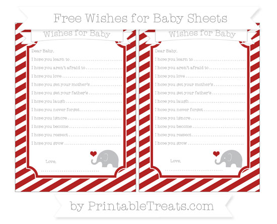 Free Fire Brick Red Diagonal Striped Baby Elephant Wishes for Baby Sheets