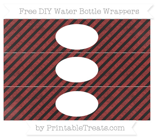Free Fire Brick Red Diagonal Striped Chalk Style DIY Water Bottle Wrappers