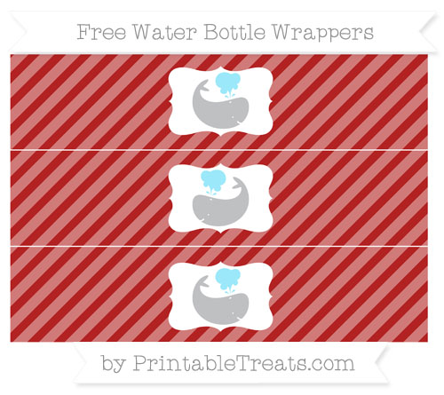 Free Fire Brick Red Diagonal Striped Whale Water Bottle Wrappers