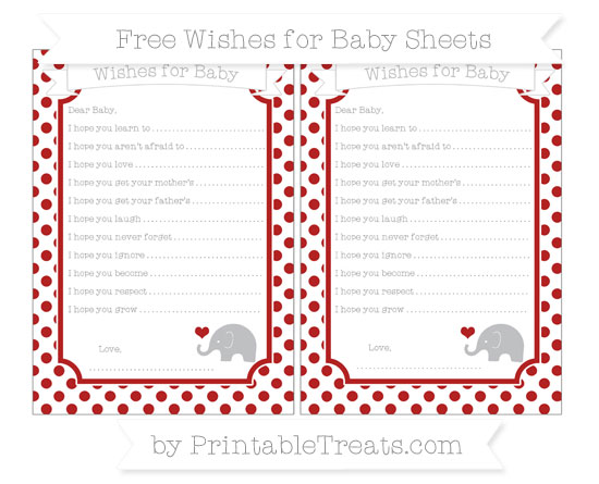 Free Fire Brick Red Dotted Pattern Baby Elephant Wishes for Baby Sheets