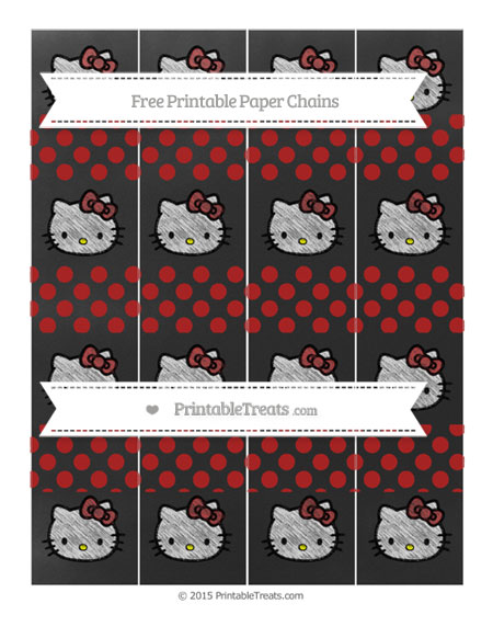 Free Fire Brick Red Dotted Pattern Chalk Style Hello Kitty Paper Chains
