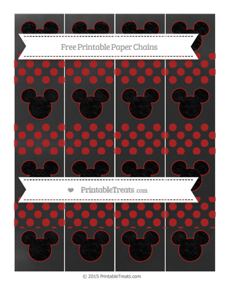 Free Fire Brick Red Dotted Pattern Chalk Style Mickey Mouse Paper Chains