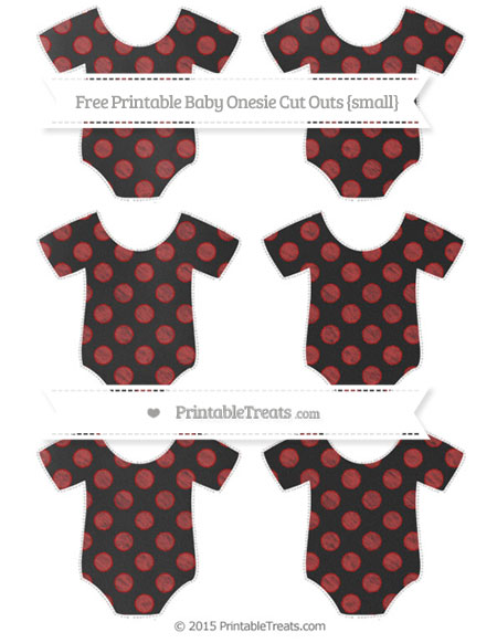 Free Fire Brick Red Dotted Pattern Chalk Style Small Baby Onesie Cut Outs