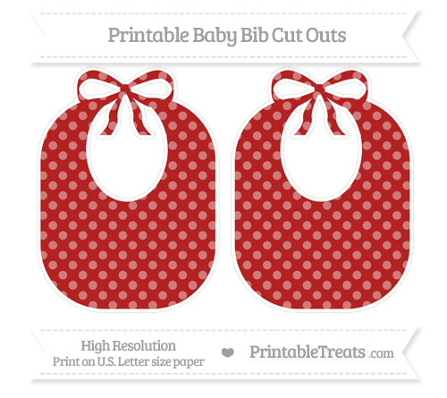 Free Fire Brick Red Dotted Pattern Large Baby Bib Cut Outs