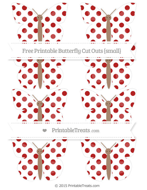 Free Fire Brick Red Dotted Pattern Small Butterfly Cut Outs