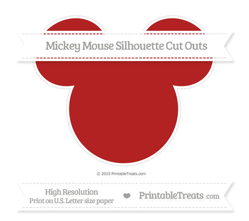 Free Fire Brick Red Extra Large Mickey Mouse Silhouette Cut Outs
