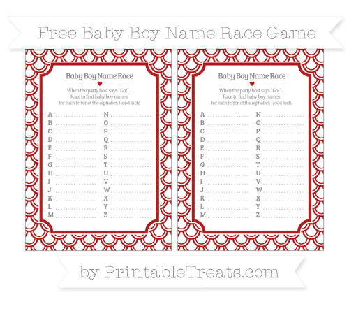 Free Fire Brick Red Fish Scale Pattern Baby Boy Name Race Game