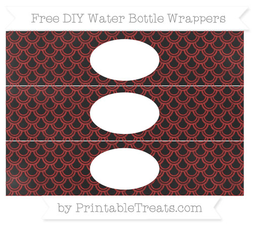 Free Fire Brick Red Fish Scale Pattern Chalk Style DIY Water Bottle Wrappers