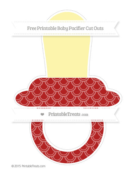 Free Fire Brick Red Fish Scale Pattern Extra Large Baby Pacifier Cut Outs