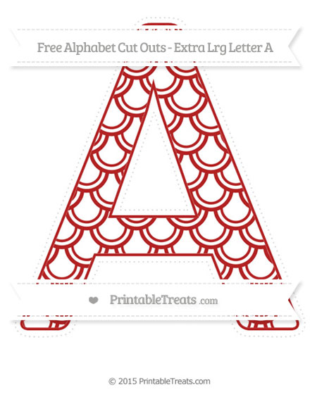 Free Fire Brick Red Fish Scale Pattern Extra Large Capital Letter A Cut Outs