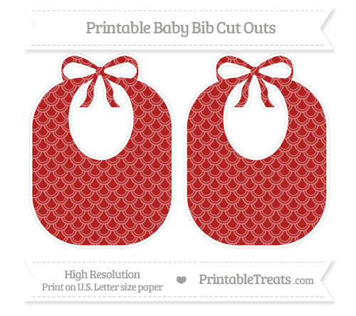 Free Fire Brick Red Fish Scale Pattern Large Baby Bib Cut Outs