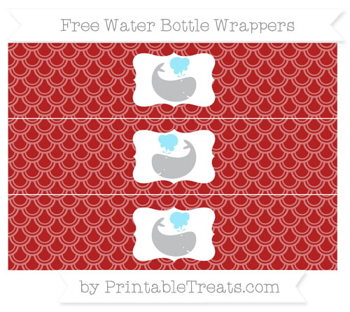 Free Fire Brick Red Fish Scale Pattern Whale Water Bottle Wrappers