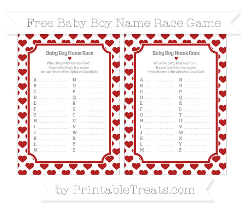 Free Fire Brick Red Heart Pattern Baby Boy Name Race Game