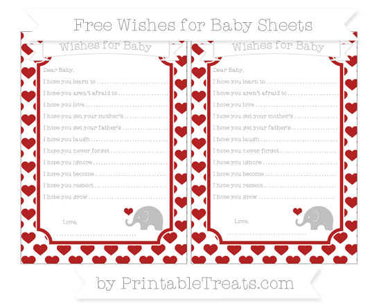 Free Fire Brick Red Heart Pattern Baby Elephant Wishes for Baby Sheets