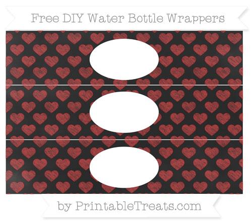 Free Fire Brick Red Heart Pattern Chalk Style DIY Water Bottle Wrappers