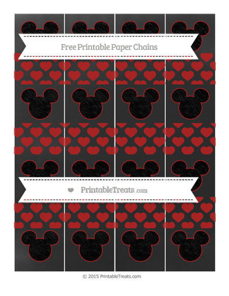 Free Fire Brick Red Heart Pattern Chalk Style Mickey Mouse Paper Chains