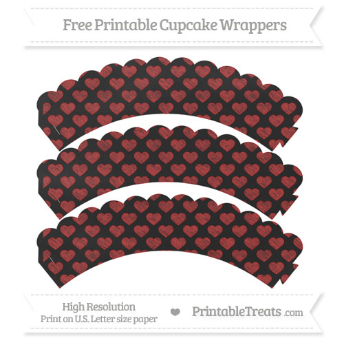 Free Fire Brick Red Heart Pattern Chalk Style Scalloped Cupcake Wrappers