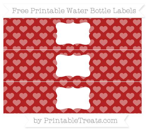 Free Fire Brick Red Heart Pattern Water Bottle Labels