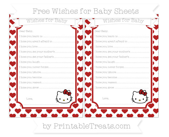 Free Fire Brick Red Heart Pattern Hello Kitty Wishes for Baby Sheets