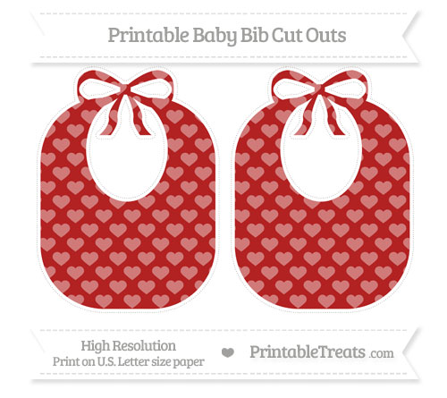Free Fire Brick Red Heart Pattern Large Baby Bib Cut Outs