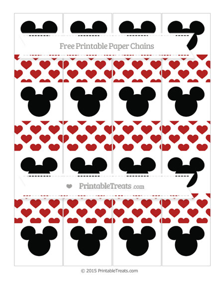 Free Fire Brick Red Heart Pattern Mickey Mouse Paper Chains