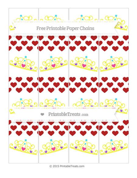 Free Fire Brick Red Heart Pattern Princess Tiara Paper Chains