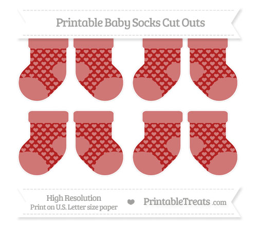 Free Fire Brick Red Heart Pattern Small Baby Socks Cut Outs