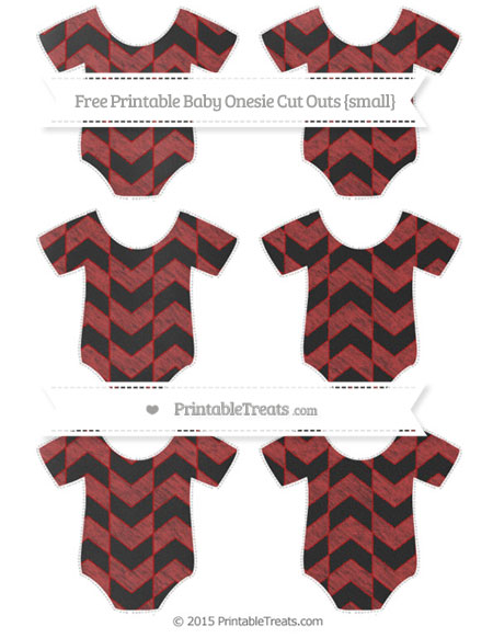 Free Fire Brick Red Herringbone Pattern Chalk Style Small Baby Onesie Cut Outs