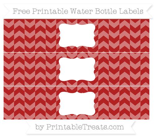Free Fire Brick Red Herringbone Pattern Water Bottle Labels