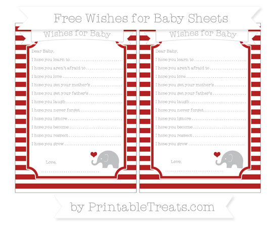 Free Fire Brick Red Horizontal Striped Baby Elephant Wishes for Baby Sheets