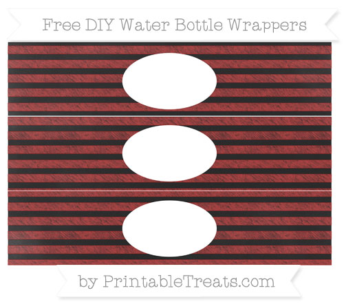Free Fire Brick Red Horizontal Striped Chalk Style DIY Water Bottle Wrappers