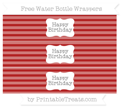 Free Fire Brick Red Horizontal Striped Happy Birhtday Water Bottle Wrappers