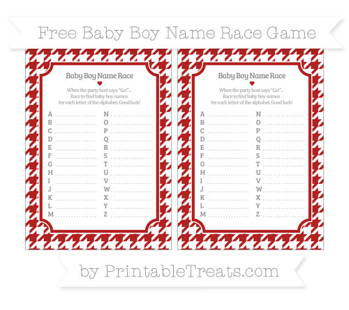 Free Fire Brick Red Houndstooth Pattern Baby Boy Name Race Game