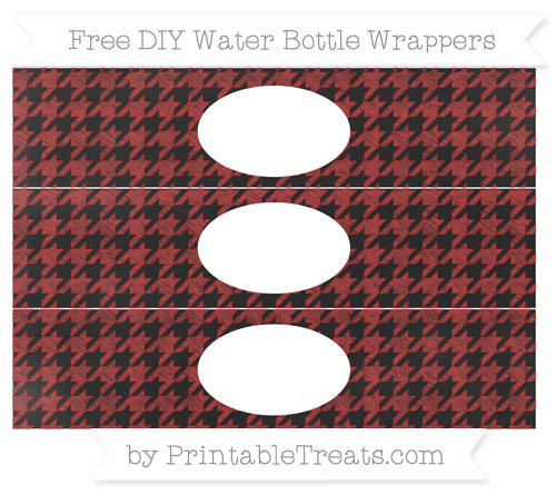 Free Fire Brick Red Houndstooth Pattern Chalk Style DIY Water Bottle Wrappers