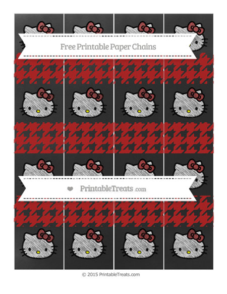 Free Fire Brick Red Houndstooth Pattern Chalk Style Hello Kitty Paper Chains