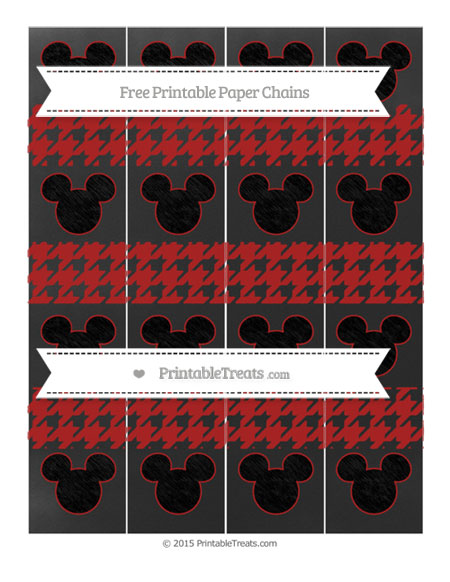 Free Fire Brick Red Houndstooth Pattern Chalk Style Mickey Mouse Paper Chains