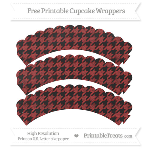 Free Fire Brick Red Houndstooth Pattern Chalk Style Scalloped Cupcake Wrappers