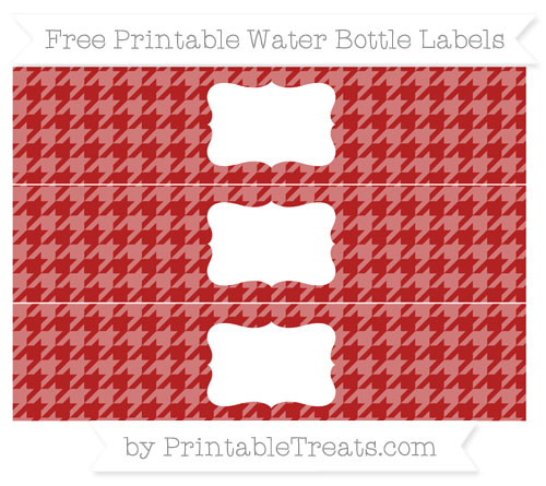 Free Fire Brick Red Houndstooth Pattern Water Bottle Labels